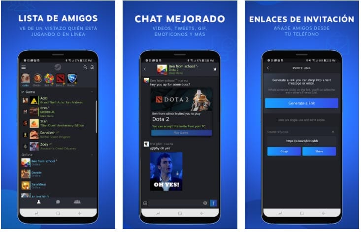 steam chat apps para hablar juegos online