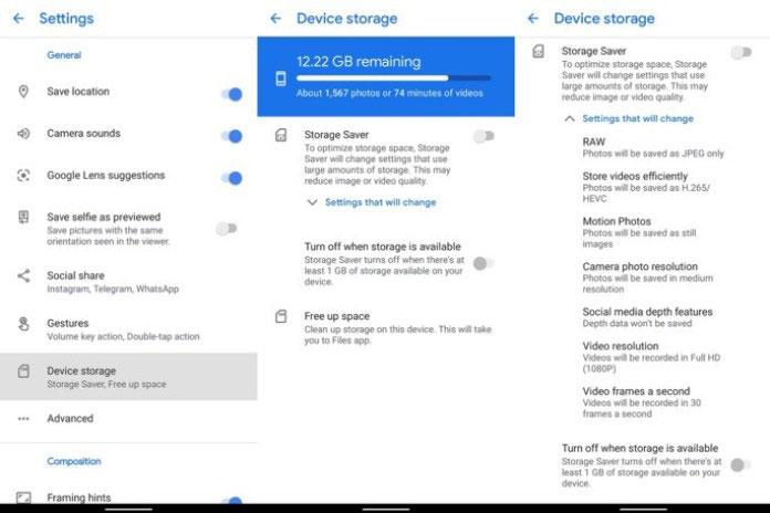 google camera activar modo ahorro