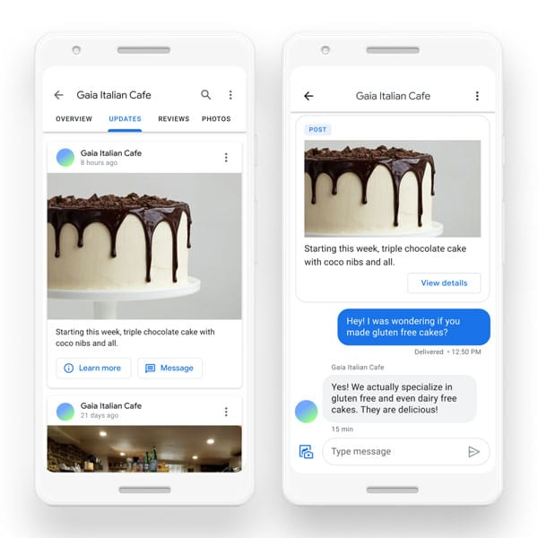 mensajes empresas google maps actualización