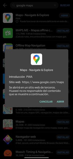 instalar appgallery descargar google maps