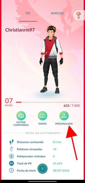 personalizar avatar pokémon go