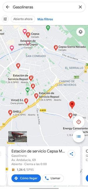 cómo ver precios gasolineras google maps