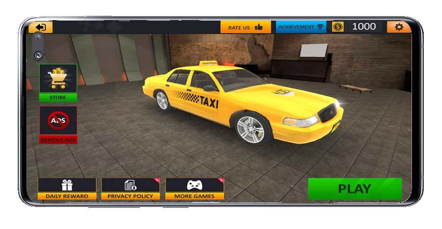 Coche en garaje del juego Taxi Driver Sim