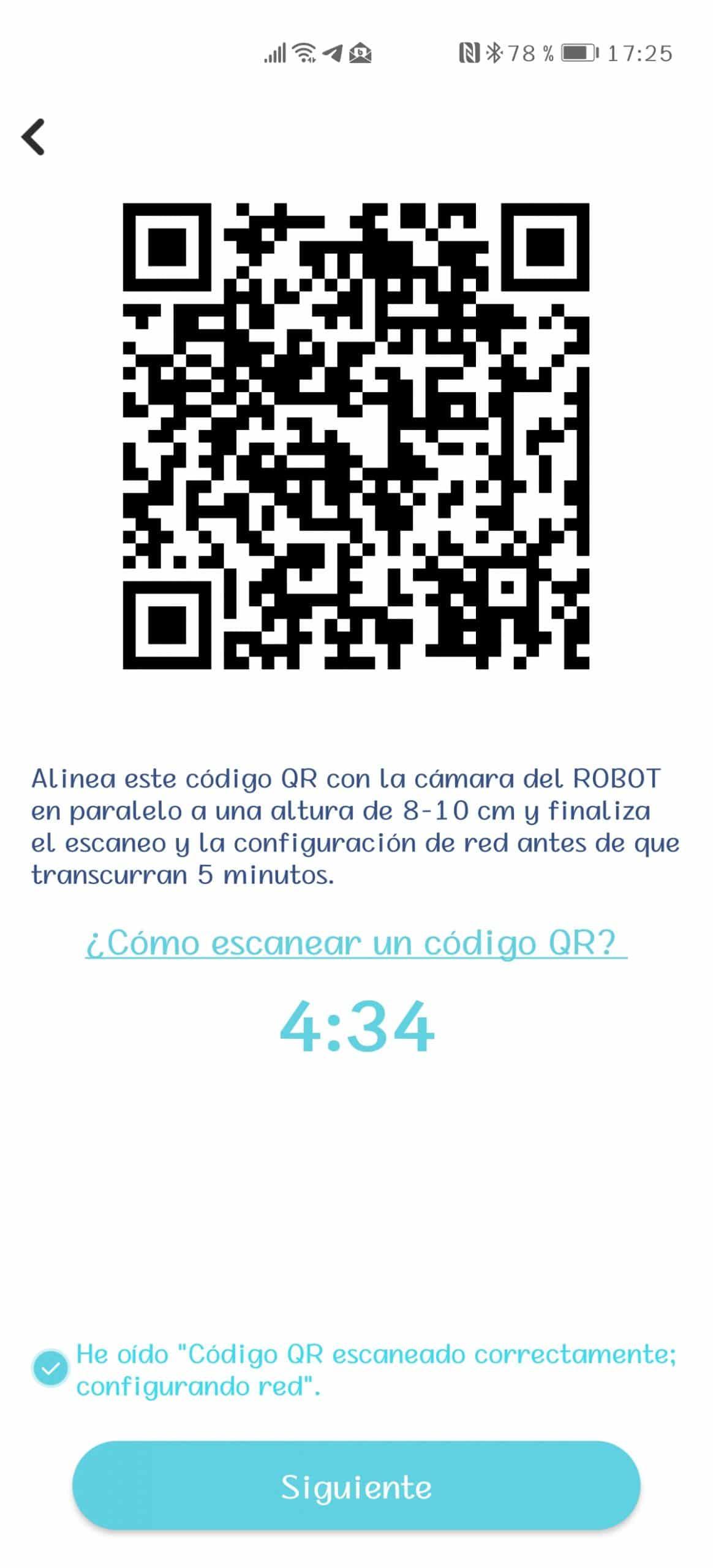 Código QR en la aplicación Yeedi