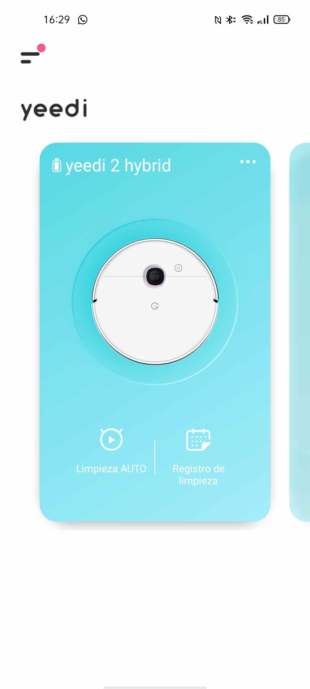 Aspiradora en la aplicación Android Yeedi